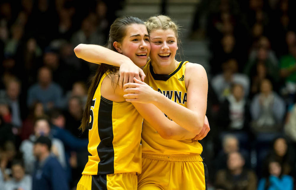 The Engine Of 2018 19 Kelowna Owls Jaeli Ibbetson Left And Kennedy Dickie Embraced Earlier This Months In Seconds Before Their Team Won BC