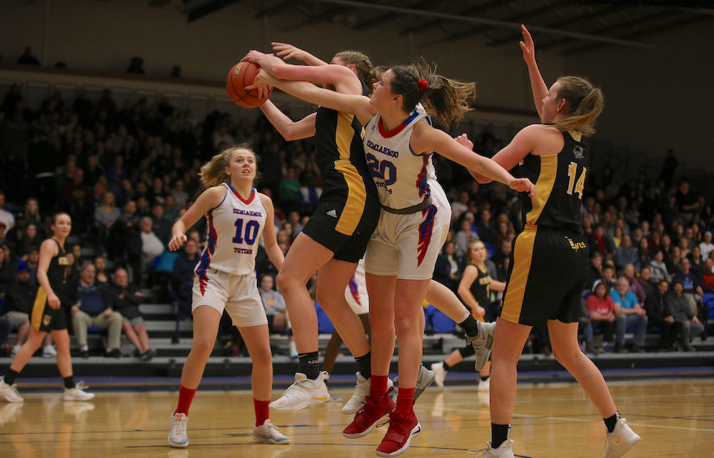 Kelownas Kennedy Dickie And Semiahmoos Izzy Forsyth Battle For A Rebound During Fridays AAA Finla Four Clash At The LEC Photo By Paul Yates Property Of